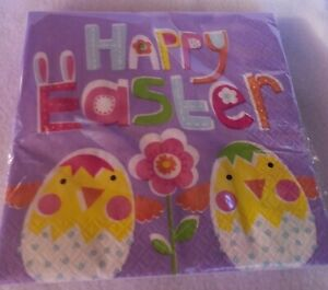Happy Easter Napkins 16 Ct 2 Ply Chic Party Purple