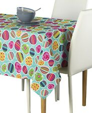 Vibrant Easter Eggs Blue Polyester Tablecloth Assorted Sizes