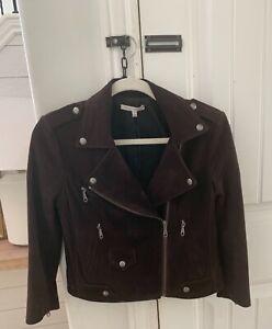 Rebecca Minkoff Suede Moto Jacket Brown XS