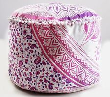 "22"" Large Star Mandala Indian Pouf Cover Cotton Multi Color Seating Ottoman Pouf"