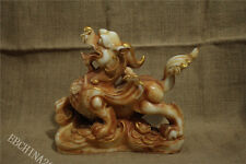 """9.6"""" Collect China Old White Jade Hand-carved Pixiu Beast Sculpture Statue"""