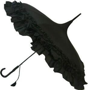 Black Pagoda Umbrella SOAKE Classic Frilled Style Long Walking Large Plain