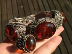 Chinese early 20th sterling silver genuine old amber bracelet