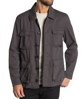 John Varvatos Star USA Men's Long Sleeve 4 Pocket Button Field Jacket Charcoal
