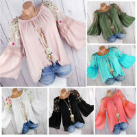 Womens Summer Embroider Round- Neck Blouses Loose Baggy Tops Tunic T Shirts