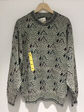 St Michael Knit Jumper New Old Stock 80s Grey Mix Patterned Large M&S Retro Vtg