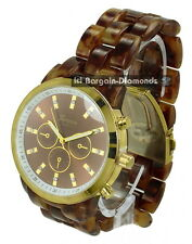 mens gold tone tortoise look sports watch designer brown dial link bracelet