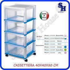 CASSETTIERA PLASTICA STEFANPLAST 4 CASSETTI CON RUORE MIS.40X40XH 80 CM COLORATA