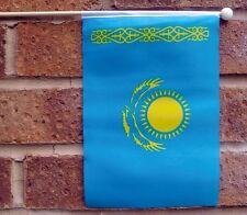 "KAZAKHSTAN HAND WAVING FLAG medium 9"" X 6"" wooden pole flags Astana Almaty"
