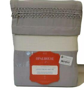 open house king gray cotton percale sheet set new