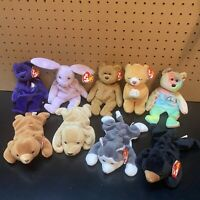 Ty Beanie Babies Lot Of 9 - Princess,Peace,Blackie,Cubbie,Floppity,Fetch, Curly,