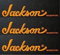 Jackson Guitar Reverse Headstock Made In USA Vinyl Decal OEM, Semi-Burnt Orange