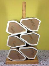 Padilla Stoneware Mugs With Wooden Stand Set of Six Signed