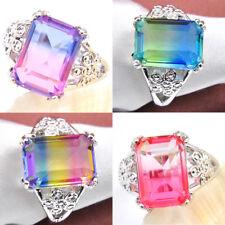 7 pcs 1 Lot Rainbow Multi Bi-Colored Tourmaline Gemstone Silver Ring Size 7 8 9