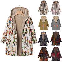 Women Printed Overcoat Jacket Zip Hooded Long Sleeve Casual Coat Outwear Thicken