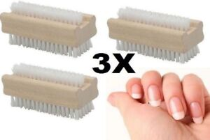 BOTH SIDES WOODEN NAIL BRUSH FOR MANICURE & PEDICURE SCRUBBING CLEANING BRISTLES