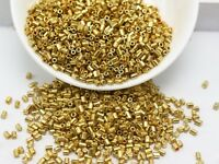 5000 Gold Metallic Glass Tube Bugle Seed Beads 2X2mm + Storage Box