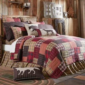 Wyatt Queen Patchwork Quilt-Hand Quilted Cotton Block Lodge Quilted Bedspread