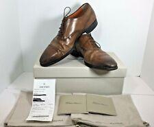 Santoni EAMON 2 Size 10.5 D Brown Cap Toe Oxford Men's Shoes NICE Fast Free Ship