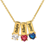 Personalized Gold Sterling Silver Mother's Necklace w/ Heart Shape Birthstones