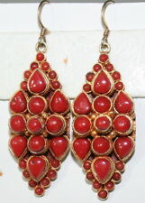 ANTIQUE 54mm LONG BIG SILVER GOLD PL 50 CABOCHON RED CORAL FINE DANGLE EARRINGS