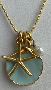 Brighton Aqua Shores Starfish shell pearl Gold Charm Reversible Necklace  16 inc