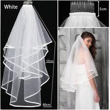 White 2 Tiers Bridal Crystal Wedding Veil Short Elbow Length with Satin Edge UK