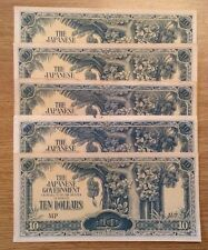 Lote de 5 billetes X. gobierno japonés problema. diez dólares
