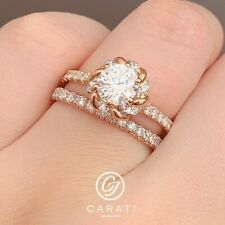 14K Solid Rose Gold Wedding Band Diamond Engagement Flower Ring Set Art Deco
