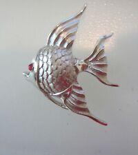 TRIFARI CROWN SIGNED RUBY CAB EYE ANGEL FISH BROOCH