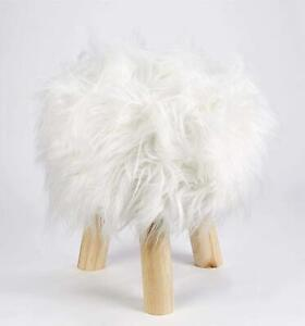 SHAGGY MONGOLIAN FAUX FUR WHITE SUPERSOFT WOOD ROUND FOOTSTOOL 36CM X 30CM