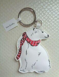Vera Bradley Polar Bear Bag Charm Keyring Red White Embroidered Scarf NWT