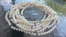 """Estate Glass imitation Pearl Faceted Bead Long Statement Choker Necklace 100"""""""