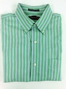 NWOT Lands End Green Stripe Men's Oxford Dress Shirt Tailored Fit 15-1/2 32