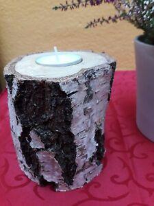 Teelichthalter Birkenholz + Teelicht Tischdeko Kerze naturbelassen handmade neu