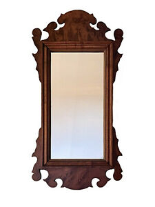 Antique Loomis Brothers Woodcrafters Chippendale Quilted Maple Mirror RARE Size