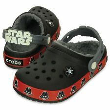 New Boys CROCS Star Wars Darth Vader Faux Fur Lined Clogs 8/9 10/11 12/13 1 2 3