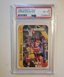 Hakeem Akeem Olajuwon 1986 Fleer Sticker #9 PSA 6 HOF Houston Rockets