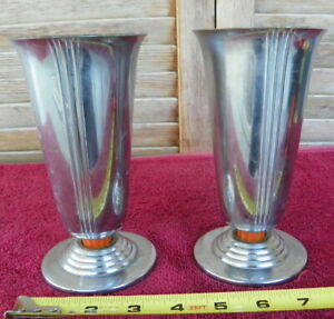 2 Chase  PAIR OF Vases BUTTERSCOTCH Bakelite Art Deco Machine Age USED PLANTERS