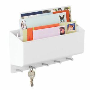 mDesign Plastic Wall Mount Divided Mail Sorter Storage Organizer Basket - White