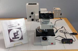 VINTAGE LEITZ ORTHOLUX II BINOCULAR FLUORESCENCE RESEARCH MICROSCOPE W/PLOEMOPAK