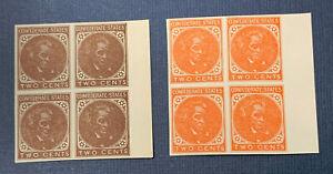 Confederate States of America 2 Reprint Blocks 2 Cent Calhoun Orange and Brown |