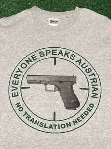 "Glock ""Everyone Speaks Austrian"" T-Shirt Gray Medium Short Sleeve NEW"