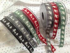 Berisfords Christmas Ribbons 2016 Range 1 or 3 Metres & Full Rolls Festive Forest - Red 1 Metre