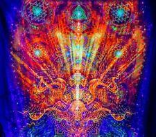 Yoga Tapestry, UV Wall Deco, Psychedelic Backdrop, Mushroom Tapestry, Psytrance