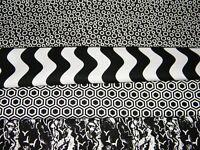 4 FQ Bundle – Black & White Geo Prints 100% Cotton Quilt Fabric Fat Quarters V6
