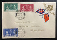 1937 Victoria Hong Kong First Day Cover FDC King George 6 KGVI Coronation