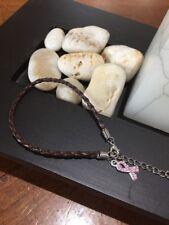 Breast Cancer Survivors PINK Rhinestone Ribbon Brown Leather Rope Bracelet