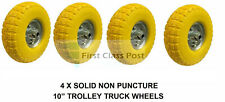 "4 x 10"" Puncture Burst Proof Solid Rubber Sack Truck Trolley Wheels Tyres"