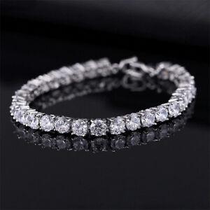 Luxus Damen Armband 4 mm Zirkonia weiß Silber Tennisarmband Love Armreif Schmuck
